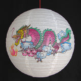 2 of Chinese White Paper Lanterns with Dragon Pictures - Asianly
