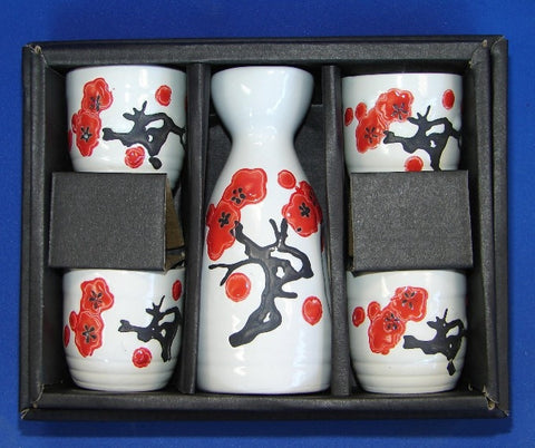Ceramic White Japanese Saki Set with Red Plum Pictures - Asianly