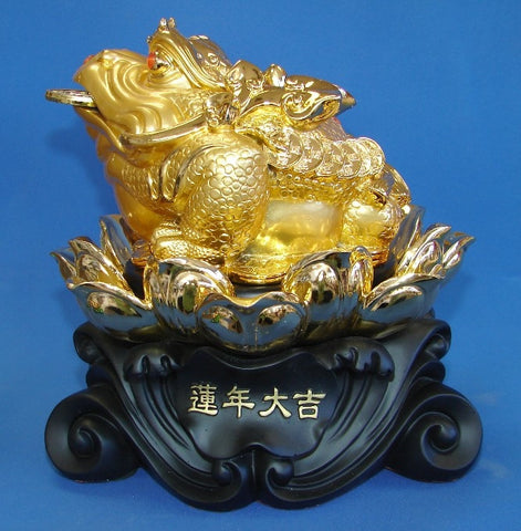 Golden Money Frog Statue Sitting on Lotus - Asianly