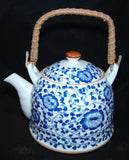 Blue Teapot w/ Flower Pictures - Asianly