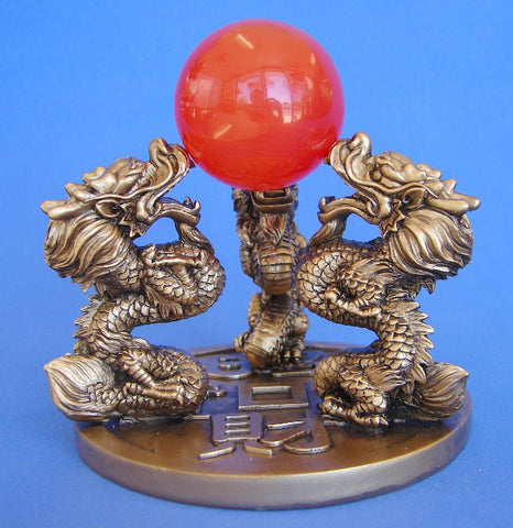 Triple Dragon Statues Pushing Ball Up - Asianly