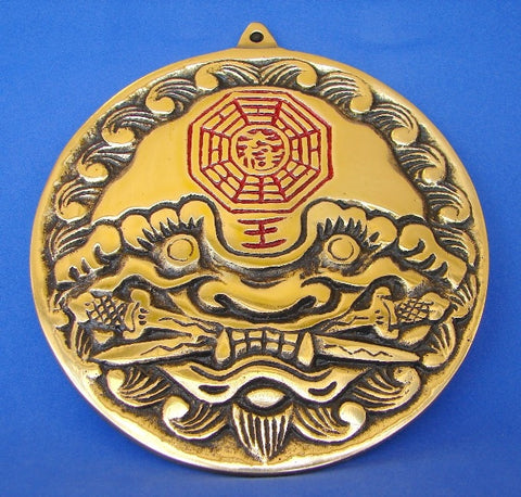 Brass Tiger Head Yin Yang Bagua Mirror - Asianly