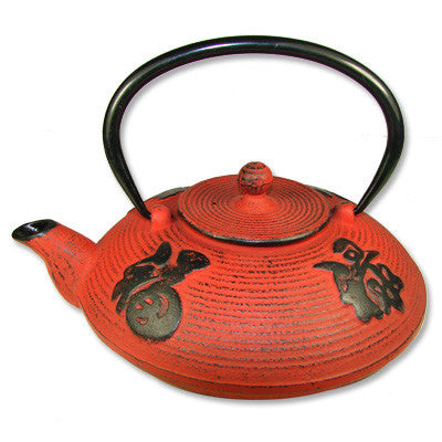 Red Cast Iron Teapot - Asianly