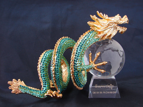 Bejeweled Green Dragon Carrying Crystal Globe - Asianly