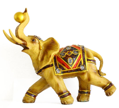 Big Yellow Gold Elephant Statue - Asianly