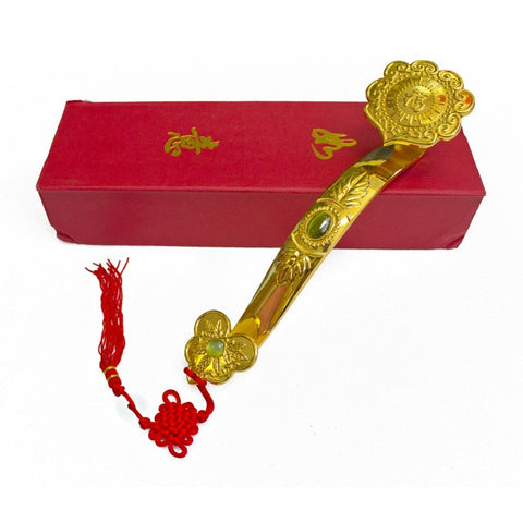 Big Golden Ru Yi Scepter with Auspicious Words - Asianly