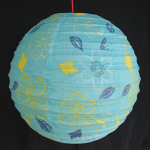 2 of Blue Paper Lanterns with Flower Pictures - Asianly