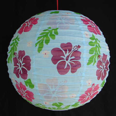 2 of Light Blue Paper Lanterns with Flower Pictures - Asianly
