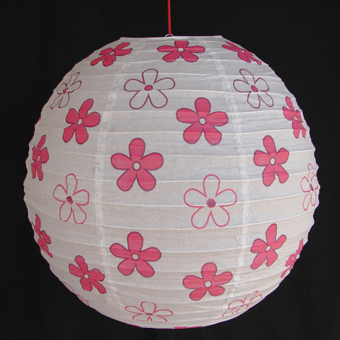 2 of White Paper Lanterns with Flower Pictures - Asianly