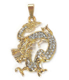 Bejeweled Golden Dragon Pendant - Asianly
