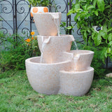 Muiti Pots Sandstone Outdoor-indoor Water Fountain With Led Lights - Asianly