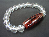 9-eye Dzi with Clear Bead Bracelet - Asianly