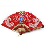 Hand Fan with Peacock Picture in Different Colors - Asianly
