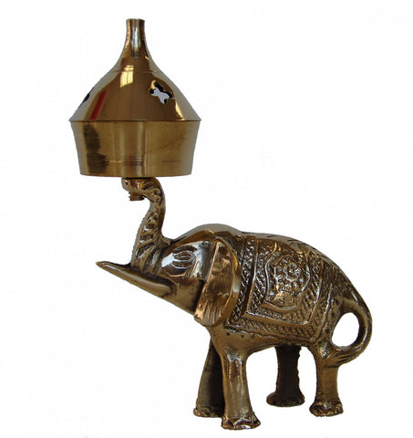 Brass Incense Oil Burner with Elephant - Asianly