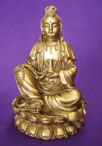 Bronze Sitting Kwan Yin - Asianly