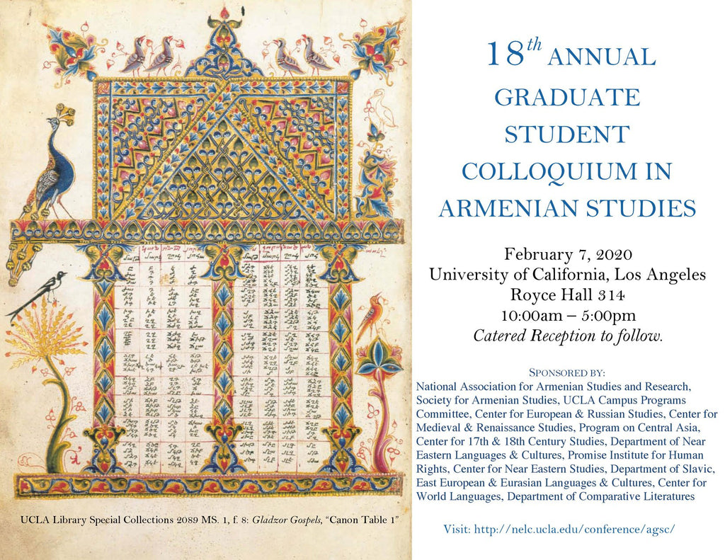 18th Annual Graduate Student Colloquium in Armenian Studies ~ Friday, February 7, 2020