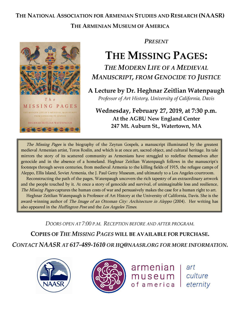 "Heghnar Watenpaugh, ""The Missing Pages: The Modern Life of a Medieval Manuscript from Genocide to Justice"""