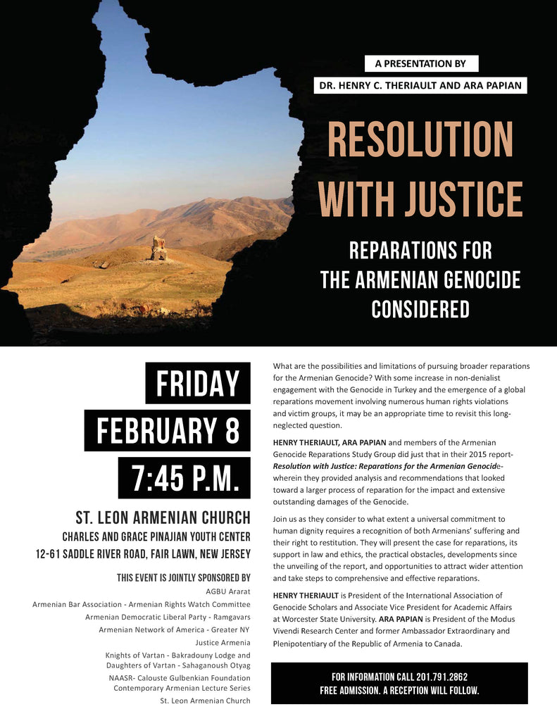"Henry Theriault and Ara Papian: ""Resolution with Justice: Reparations for the Armenian Genocide Considered"""