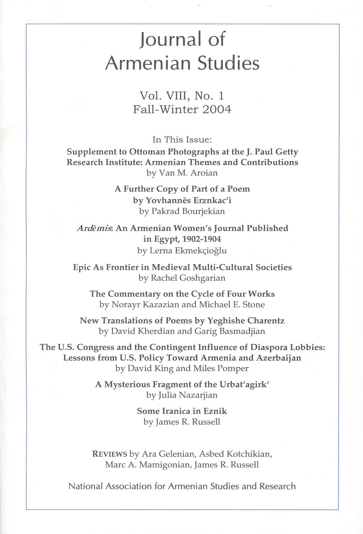 JOURNAL OF ARMENIAN STUDIES: Volume VIII, Number 1: Fall-Winter 2004