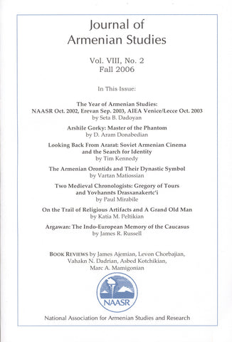 JOURNAL OF ARMENIAN STUDIES: Volume VIII, Number 2: Fall 2006