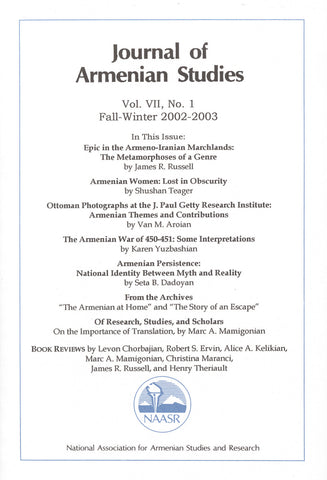 JOURNAL OF ARMENIAN STUDIES: Volume VII, Number 1: Fall-Winter 2002-2003