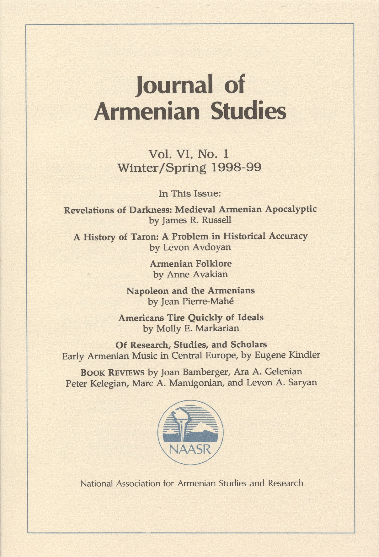 JOURNAL OF ARMENIAN STUDIES: Volume VI, Number 1: Winter/Spring 1998-1999