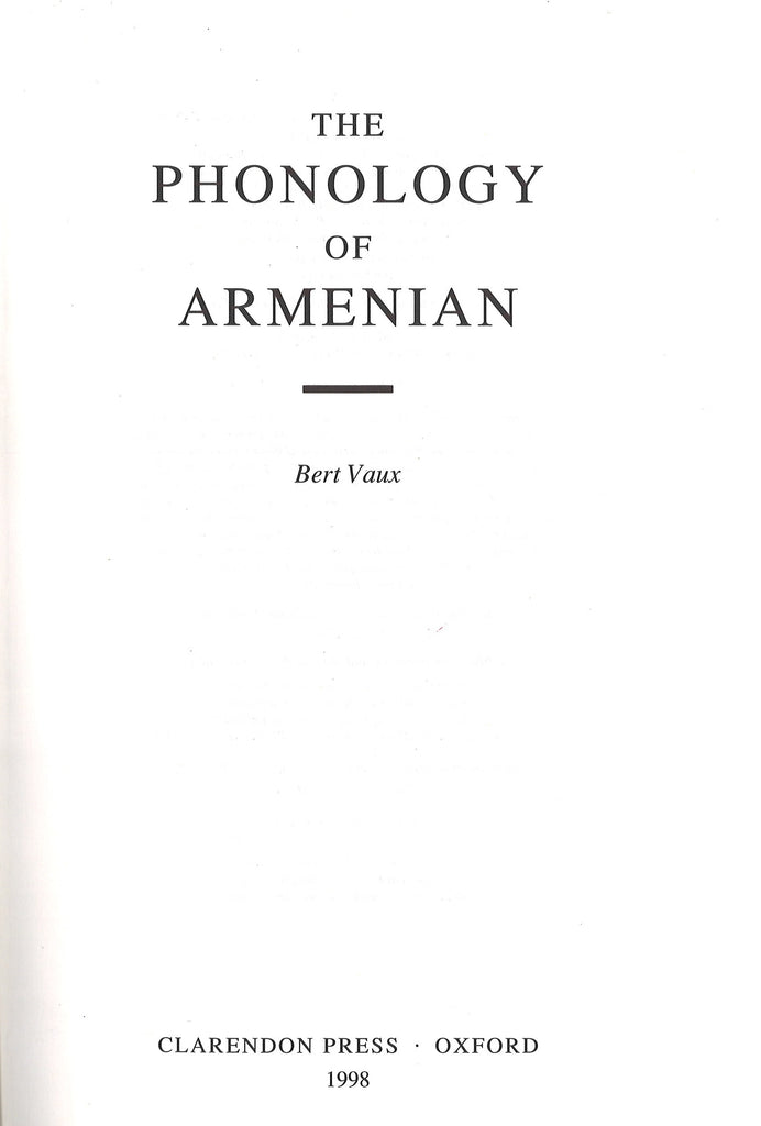 PHONOLOGY OF ARMENIAN