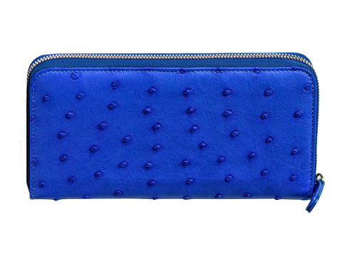 DMonti Monaco Blue - Genuine Ostrich Leather Continental Zip Around Wallet