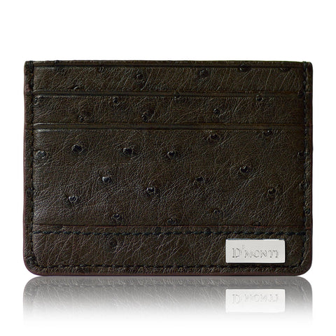 DMonti Dark Brown Contemporary Luxe Genuine Ostrich Leather Credit Card Holder Slim Wallet Front View