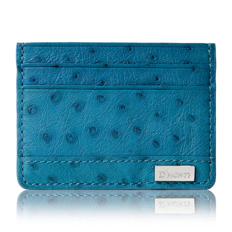 D'Monti Coral Blue Contemporary Luxe Genuine Ostrich Leather Credit Card Holder Wallet