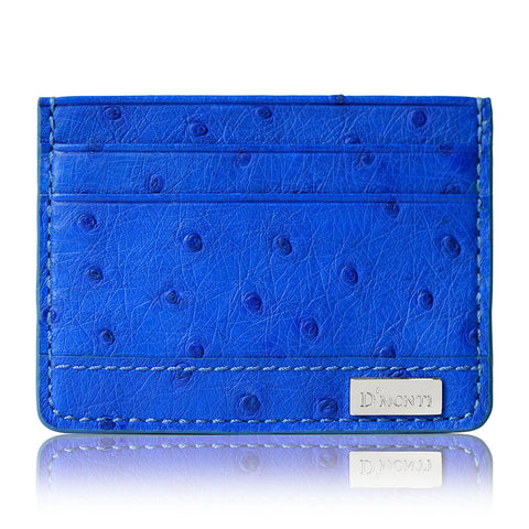 DMonti Monaco Blue Contemporary Luxe Genuine Ostrich Leather Credit Card Holder Slim Wallet Front View