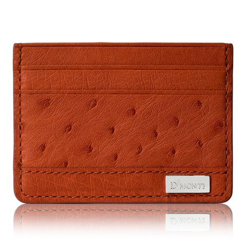 DMonti Allard Orange - Minimalist Luxe Genuine Ostrich Leather Credit Card Holder Wallet Profile View