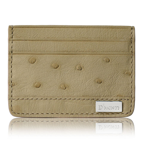 DMonti Nestier Beige - Minimalist Luxe Genuine Ostrich Leather Credit Card Holder Slim Wallet Front View