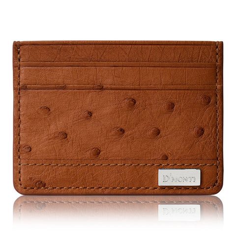 DMonti Gold Brown - Minimalist Luxe Genuine Ostrich Leather Credit Card Holder Slim Wallet Front View