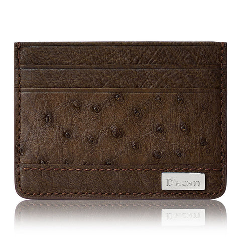 DMonti Paris Brown - Minimalist Luxe Genuine Ostrich Leather Credit Card Holder Slim Wallet Front View