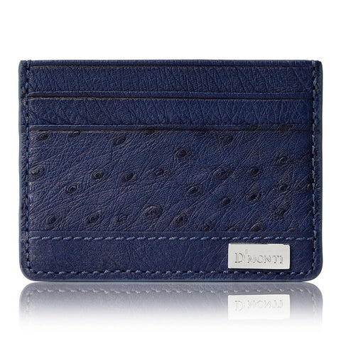Nero Black - Exotic Ostrich Leather Card Holder Slim Wallet