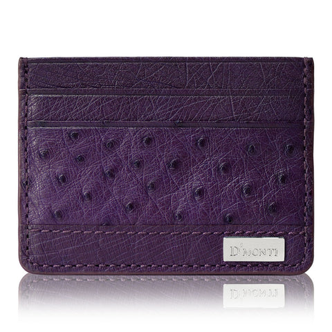 D'Monti Bordeaux Purple - Minimalist Luxe Genuine Ostrich Leather Credit Card Holder Wallet Front View