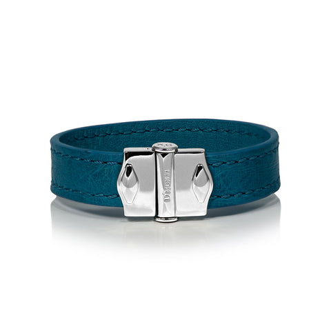 D'Monti Coral Blue - France Luxe Genuine Ostrich Leather Womens Single Bracelet