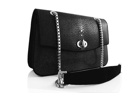 DMonti Kate Luxe Genuine Stingray & Black Suede Leather Small Flap Shoulder Bag | Golden Metalwork