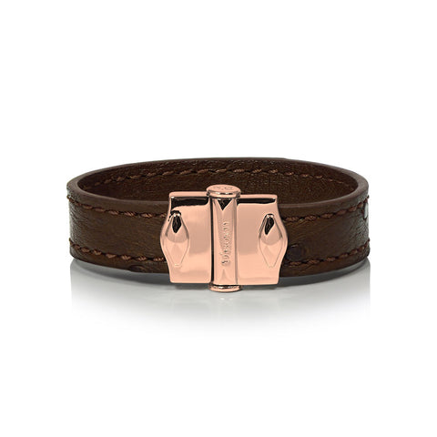 D'Monti Gold Brown - France Luxe Genuine Ostrich Leather Womens Single Bracelet