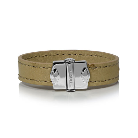 D'Monti Nestier Beige - France Luxe Genuine Ostrich Leather Mens Single Bracelet