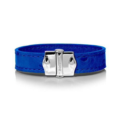 D'Monti Navy Blue - France Luxe Genuine Ostrich Leather Mens Single Bracelet