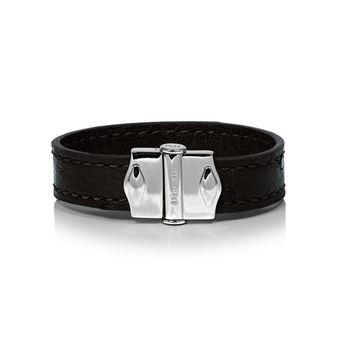 D'Monti Nero Black - France Luxe Genuine Ostrich Leather Mens Single Bracelet