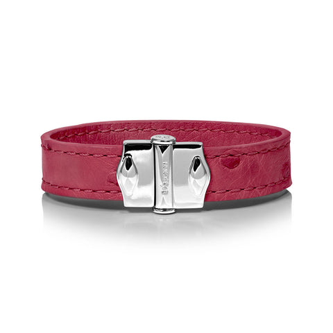 D'Monti Nessier Pink - France Luxe Genuine Ostrich Leather Womens Single Bracelet
