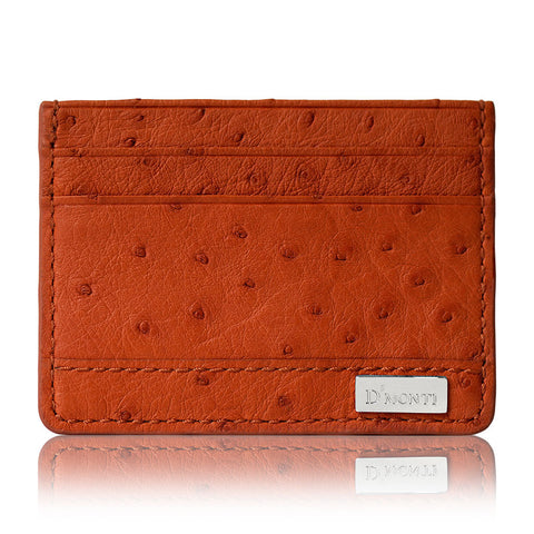 Allard Orange - Exotic Ostrich Leather Card Holder Slim Wallet