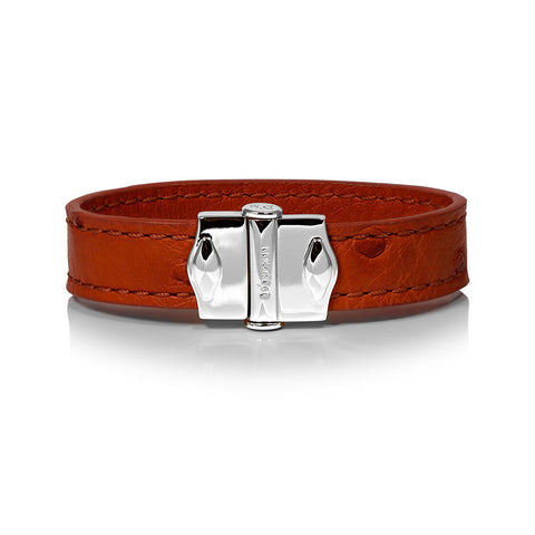 D'Monti Gold Brown - France Luxe Genuine Ostrich Leather Mens Single Bracelet