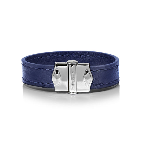 D'Monti Monaco Blue - France Luxe Genuine Ostrich Leather Womens Single Bracelet