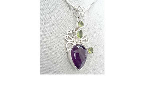 Amethyst and Peridot Gems in Victorian Scroll 925 Sterling Silver Necklace Pendant