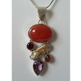 Necklace with Carnelian, Garnate & Amethyst Gemstones, Freshwater Pearl and Goldstone