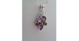 Amethyst and Carnelian Gemstone Pendant Necklace in 925 Sterling Silver Setting